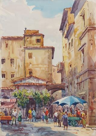 Quadro di Giovanni Ospitali Mercato a Firenze - acquerello cartone