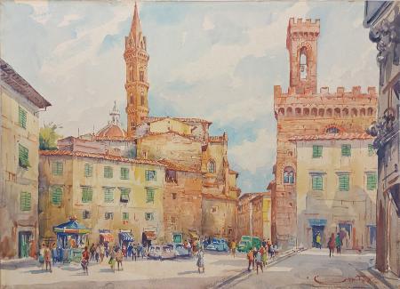 Quadro di Giovanni Ospitali Piazza San Firenze - acquerello tavola