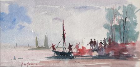 Quadro di Norberto Martini In marcia  - acquerello carta
