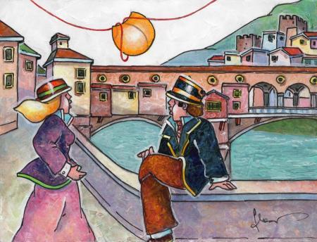 Quadro di Francesco Nesi Innamorati a ponte vecchio  - mista cartone