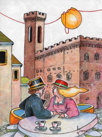 Quadro di Francesco Nesi Innamorati in Piazza Signoria - mista cartone