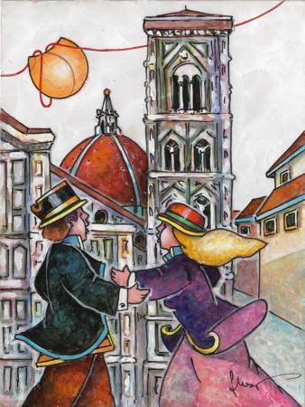 Quadro di Francesco Nesi Innamorati al campanile  - mista cartone