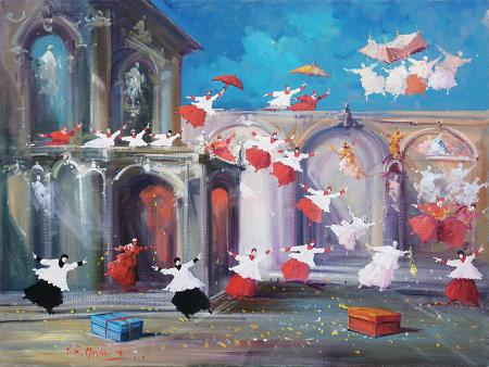 Quadro di Norberto Martini Due sorprese in arrivo - Pittori contemporanei galleria Firenze Art