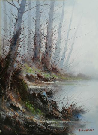 Quadro di Sandro Lorioli Il lago  - olio tela