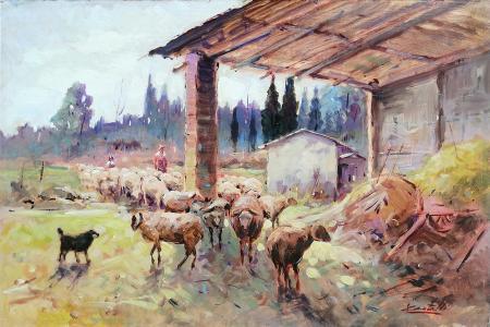 Quadro di Loris Centelli Ritorno all'ovile - Pittori contemporanei galleria Firenze Art