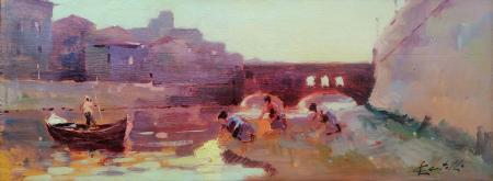 Quadro di Loris Centelli Lavandaie a Ponte Vecchio - olio tavola
