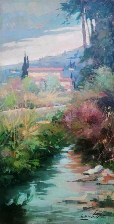 Quadro di Loris Centelli Firenze - Il torrente - olio faesite