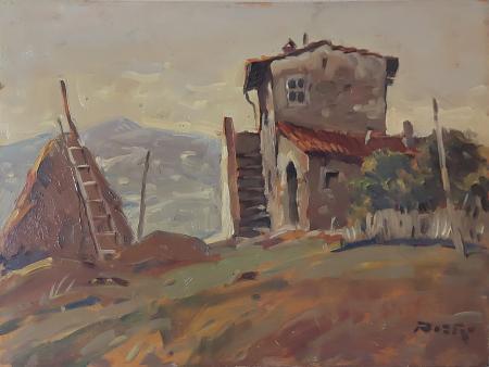 Quadro di  Pieri Paesaggio rupestre - olio tavola
