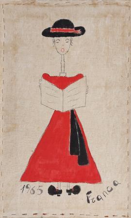 Quadro di  Franca Figura con cappello  - olio cartone telato