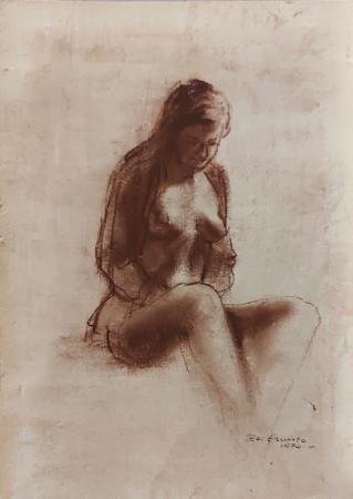 Quadro di Ernesto Zei Nudo  - mista carta