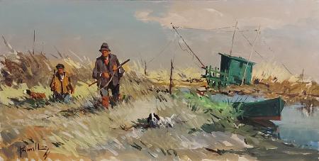 Quadro di Mario Rombolini Caccia in padule - olio faesite