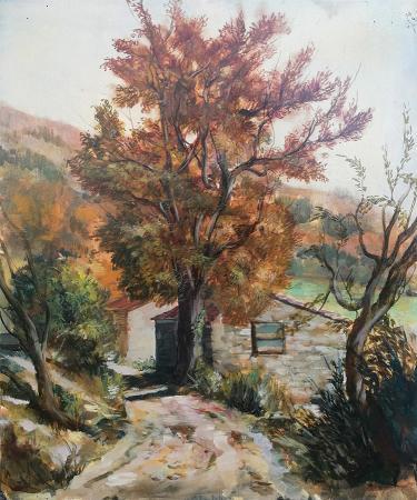 Quadro di Ernesto Zei Campagna di Bivigliano - olio tavola