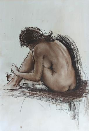 Quadro di Ernesto Zei Nudo seduto - mista carta