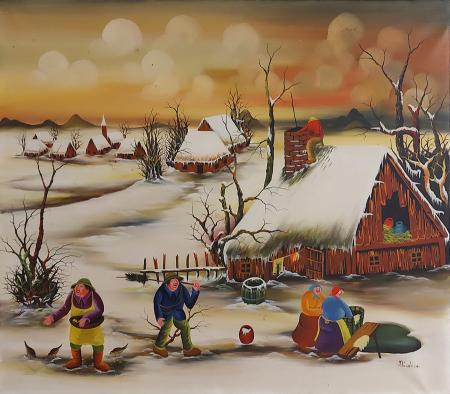 Quadro di  Nicolich Paesaggio Naif - olio tela