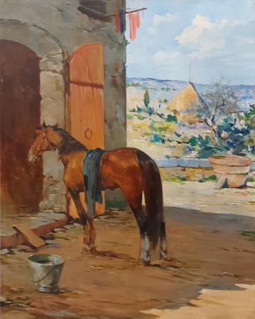 Quadro di Aldo Affortunati Cavallo sull'aia - olio cartone