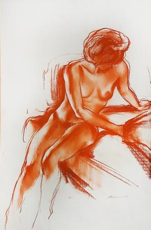 Quadro di Ernesto Zei Nudo di donna - sanguigna carta