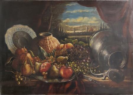 Quadro di  Anonimo Riproduzione con sfondo Firenze - olio tela
