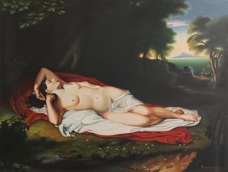 Quadro di Costanza Oghi Nudo sdraiato - olio tela