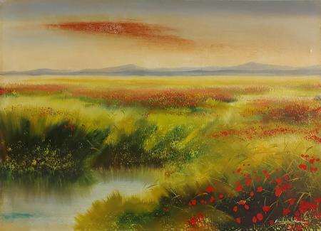 Quadro di Gianpaolo Vannucci Paesaggio con papaveri - olio tela