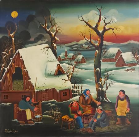 Quadro di  Nicolich Scena Naif - olio tela