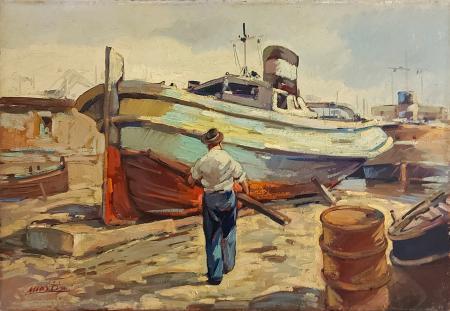Quadro di Renzo Martini Il barcaiolo - olio tela