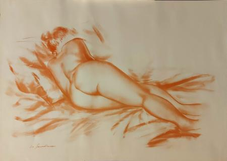Quadro di Gianpaolo Vannucci Nudo di schiena - litografia carta
