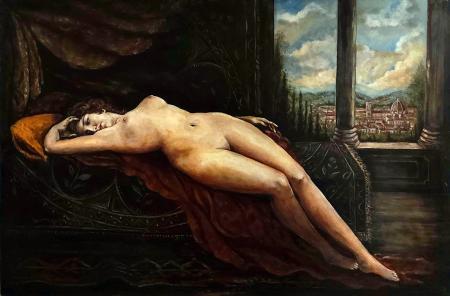 Quadro di B. M. nudo con paesaggio - olio tela