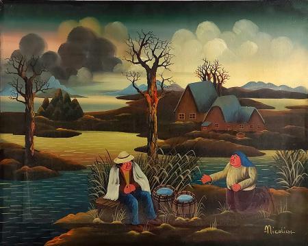 Quadro di  Nicolich Scena nei campi - olio tela