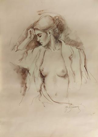 Quadro di A. Brunetti Nudo di profilo - mista carta
