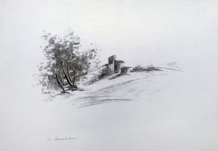 Quadro di Gianpaolo Vannucci Paesaggio - litografia carta