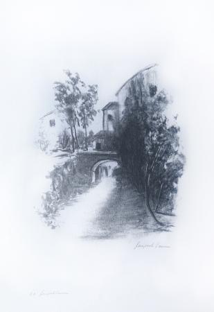 Quadro di Gianpaolo Vannucci Paesaggio con torrente - litografia carta