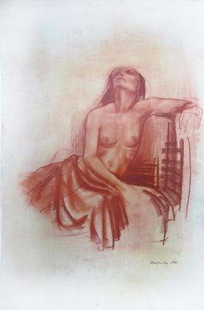 Quadro di Ernesto Zei Nudo  - sanguigna carta ad alta grammatura