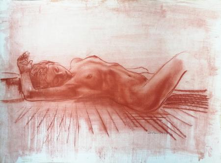 Quadro di Ernesto Zei Nudo sdraiato - sanguigna carta