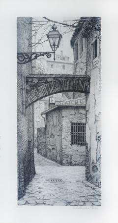Quadro di Adelindo Tassi Vicoli di Firenze - litografia carta