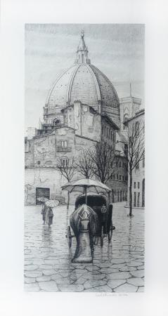 Quadro di Adelindo Tassi Duomo di Firenze  - litografia carta