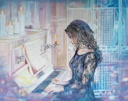 Quadro di Andrea Alfani  La pianista romantica  - olio tavola