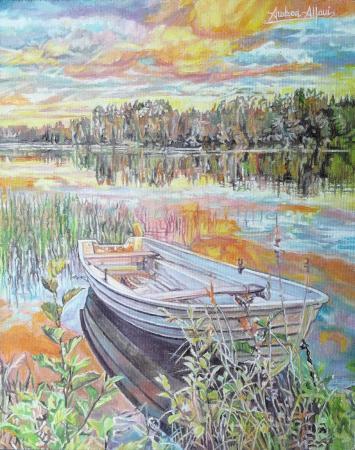 Quadro di Andrea Alfani  Dolce lagheggiare - olio tavola