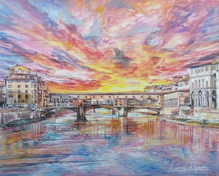 Quadro di Andrea Alfani  Tramonto su Ponte Vecchio - olio tavola