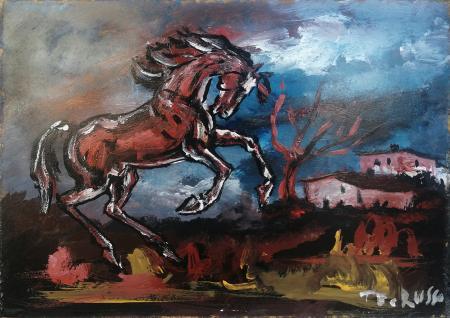 Quadro di Teo Russo Cavallo con paesaggio - olio faesite