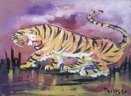 Quadro di Teo Russo Tigre - olio faesite