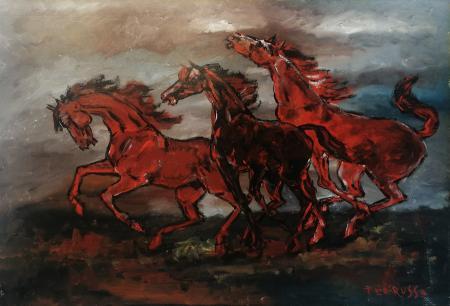 Quadro di Teo Russo Tre cavalli  - olio faesite