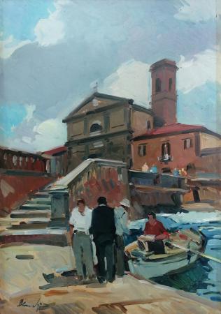 Art work by Piero Marchi Quartiere Venezia - Livorno - oil hardboard