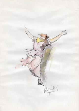 Quadro di Paolo Vespignani Felicità - acquerello carta