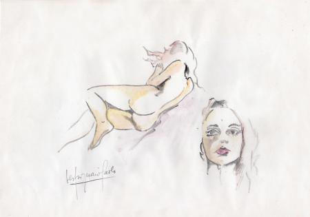 Quadro di Paolo Vespignani Nudo di schiena - acquerello carta