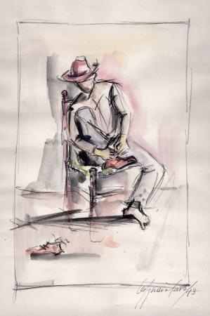 Quadro di Paolo Vespignani uomo che si mette le scarpe - acquerello carta