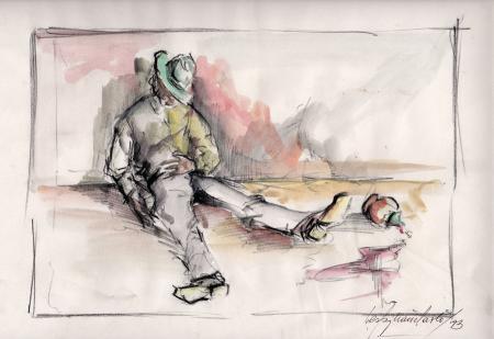 Quadro di Paolo Vespignani Ubriaco - acquerello carta