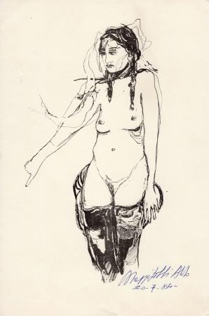 Quadro di A. Mazzitelli Nudo al muro  - stampa carta