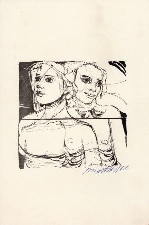 Quadro di A. Mazzitelli Due figure  - stampa carta