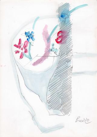 Quadro di Gastone Breddo Vaso di fiori rosa e blu - acquerello carta