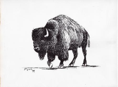 Quadro di Henry Moore Il Bisonte - litografia carta